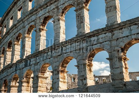 Old ruined coliseum in Pula