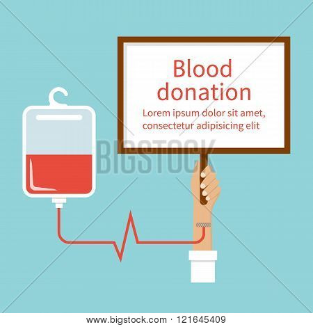 Blood Donation. Hand Male Donor.