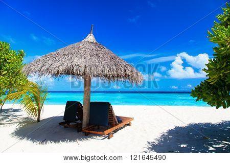 Beach chairs on the tropical beach