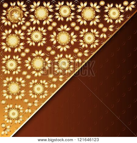Poster With Golden Floral Ornament
