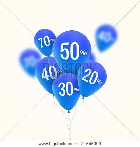 Baloons Discount. SALE concept for shop market store advertisement commerce. Market discount, blue b