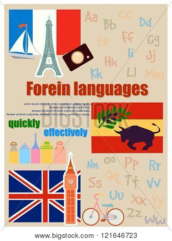 Poster for foreign language courses. flags and attributes from different countries. poster