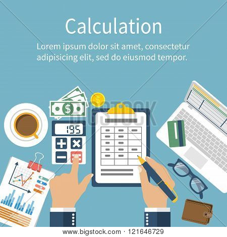 Calculation Concept. Businessman, Accountant