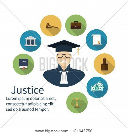 Judge Icon. Icons Symbol Of Law And Justice. Concept Law.