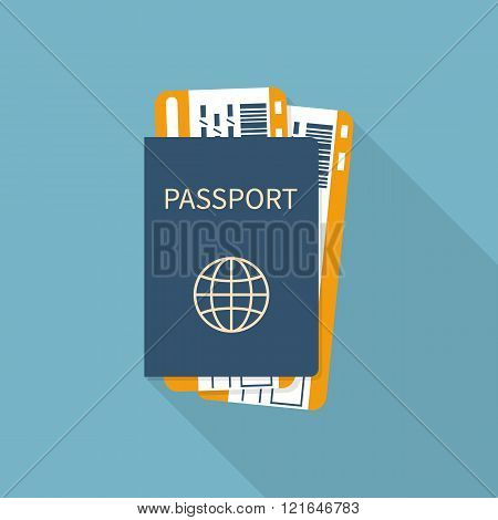 Passport With Tickets Flat Icon Isolated.