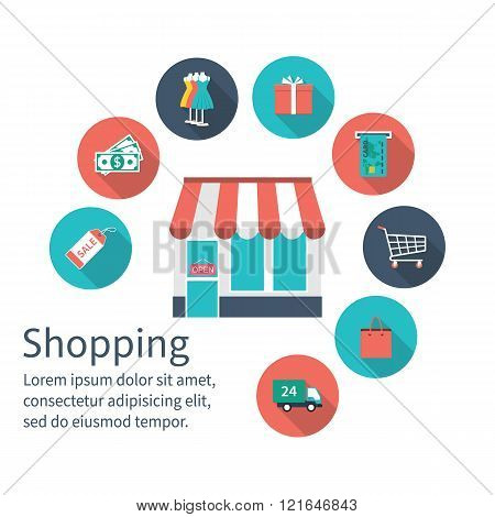 Shopping Store With Shopping Icons, Shopping Concept.