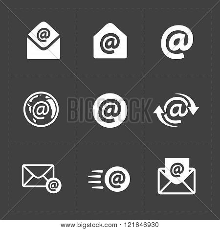 Vector E-mail icons on Dark Background.