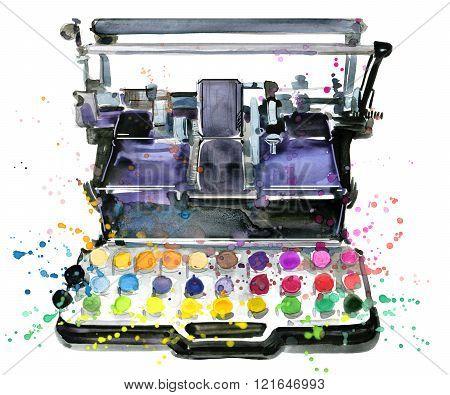 Typewriter. Vintage typewriter. Typewriter illustration watercolor. Color printer illustration. Prin