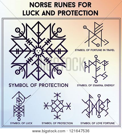 Futhark runes magic symbols vector set.