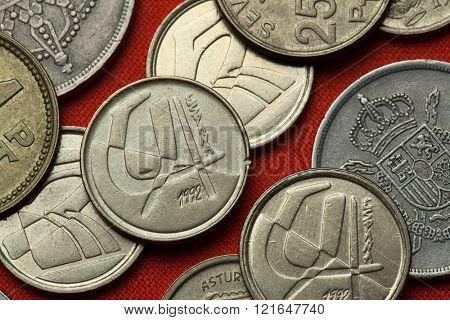 Coins of Spain. Spanish five peseta coins (1992).