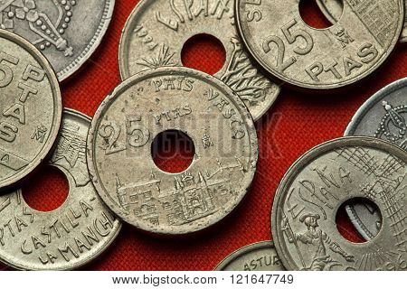 Coins of Spain. Onate University, Basque Country, Spain depicted in the Spanish 25 peseta coin (1993).