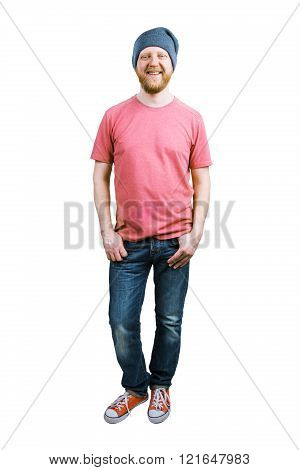 Funny guy in jeans and a T-shirt