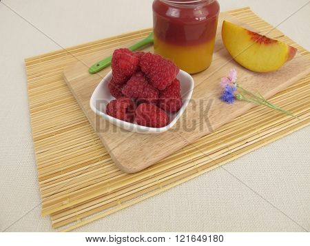 Layered jam with peach melba