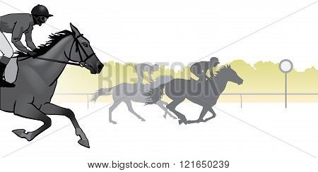 Horse Racing. Competition. Horse racing at the racetrack. Silhouettes of riders on a colored background.