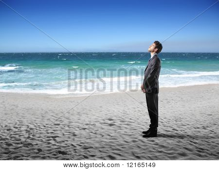 Businessman standing on a beach