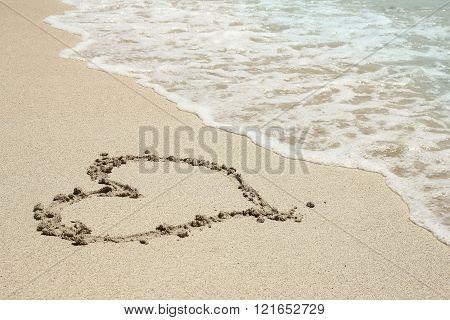Heart Trace In The Sand Seashore