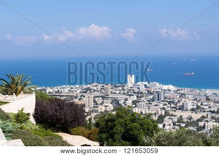 Seaview From Mountain. Cityscape. Haifa