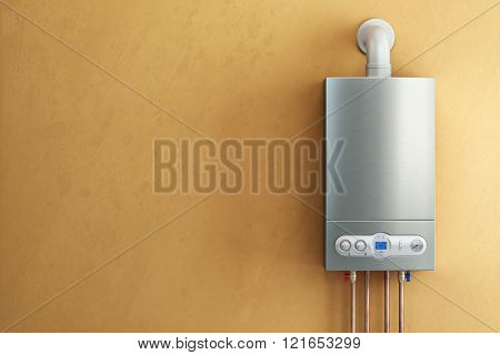 Gas-fired boiler on yellow background. Home heating. 3d