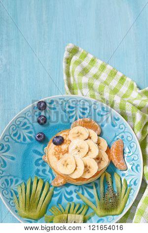 Funny pancake looks like a fish