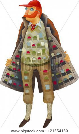 An illustration of a vintage bootlegger with merchandise in his coat.