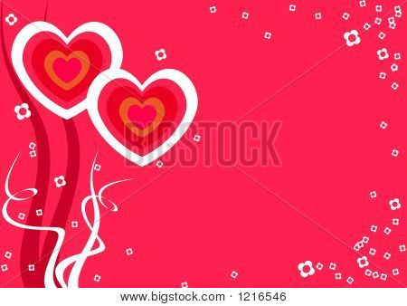 Red Background With Love Hearts And Flowers