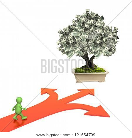 3d money tree with dollar banknotes and three bound arrows of red color, specifying different directions. Isolated on white background