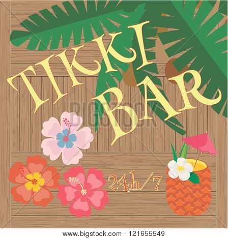 Tikki Bar. Palm Tree, Hibiscus Flowers And Tropical Cocktail.