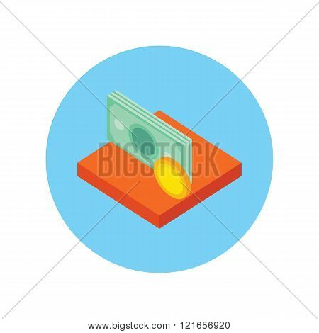 Money Icon Coin Isolated Round