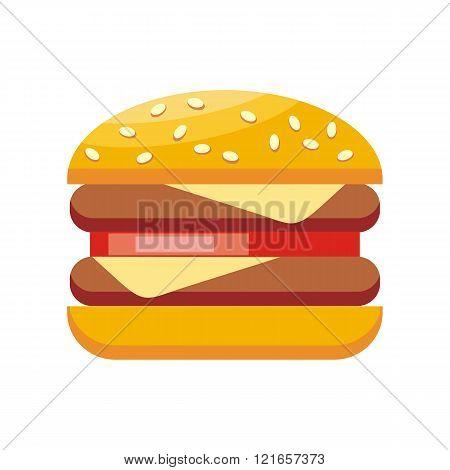 Burger Hamburger Isolated Flat Design