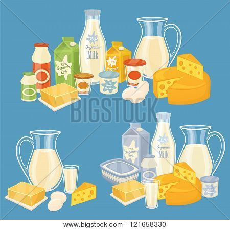Dairy products isolated, vector illustration. Milk product icons collection. Healthy food. Organic food. Farmers product. Organic farmers food. Organic food and dairy product concept. Milk product icon. Cartoon dairy product. Dairy icon.