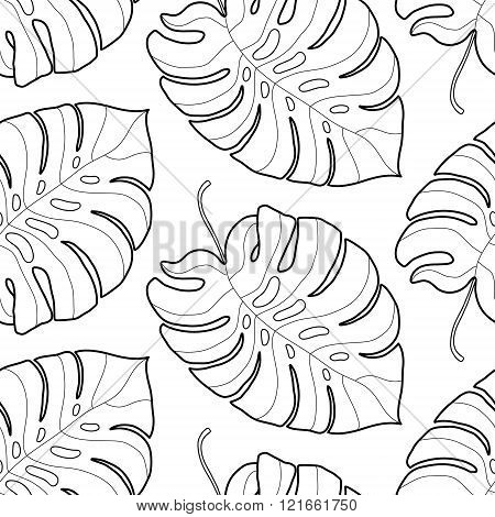 Black And White Graphic Tropical Leaves Seamless Pattern Palm Tree Background Textile Fabric