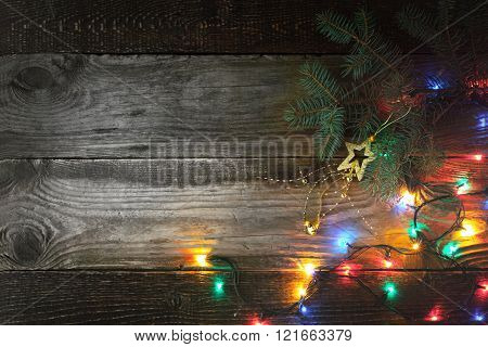 Christmas background with fir tree and festoon