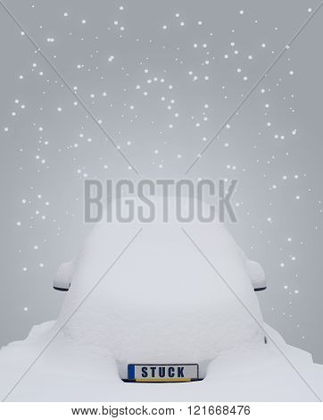 Car covered in snow with the word stuck writen on the license plate and snow flakes falling