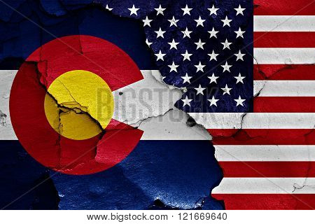 Flags Of Colorado And Usa Painted On Cracked Wall