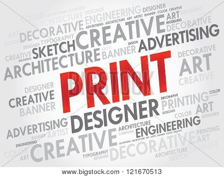 PRINT word cloud collage concept, presentation background