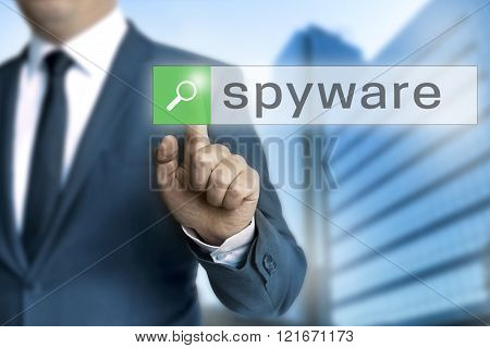 Spyware Browser Is Operated By Businessman Background