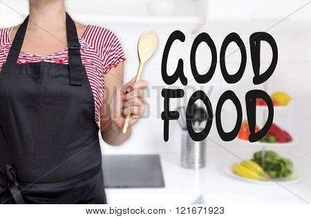 Good Food Cook Holding Wooden Spoon Background Concept