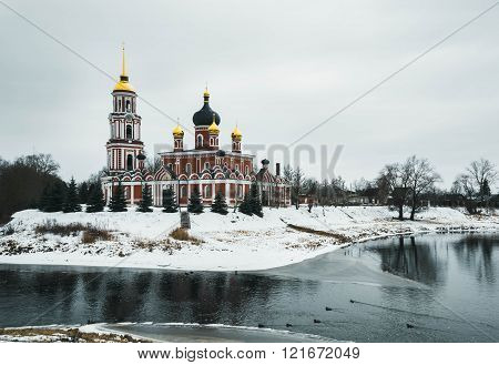 Russia, Resurrection Cathedral in Staraya Russa on  river