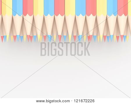 Colored Pencils Of Red Blue And Yellow Arranged In Pattern On White Background. 3D Illustration.