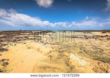 The Coast Of Atlantic Ocean Near Town Orzola On Lanzarote, Canary Islands, Spain