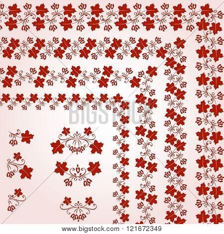 Vintage Design Elements. bunch red leaf maple