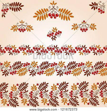 Vintage Design Elements. bunch red rowan and leaf