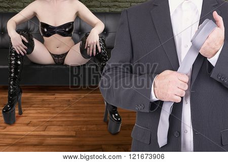 Couple In Erotic Bed Scene.