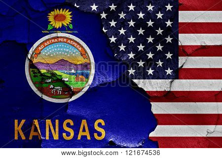 Flags Of Kansas And Usa Painted On Cracked Wall