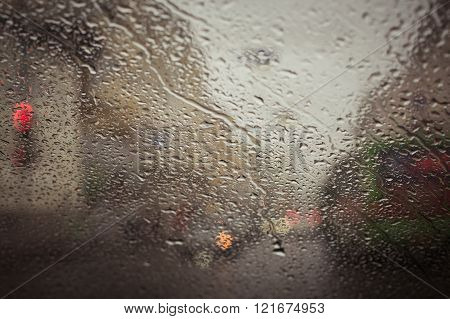 City Road Seen Through  Water Drops