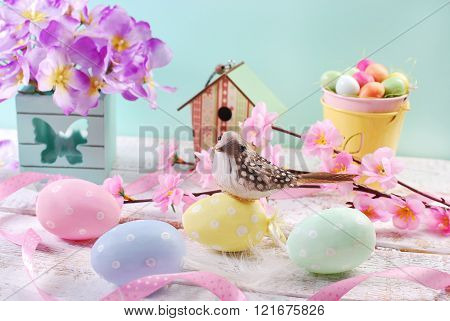 Easter Card  With Pastel Color Eggs And A  Bird