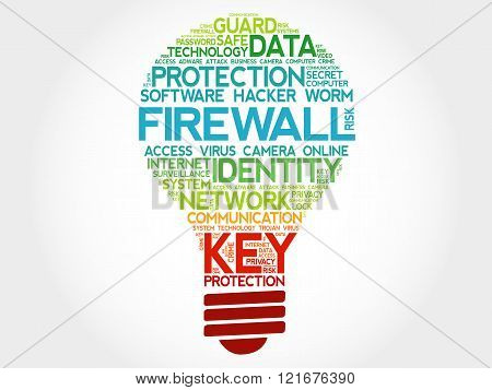 FIREWALL bulb word cloud business concept, presentation background