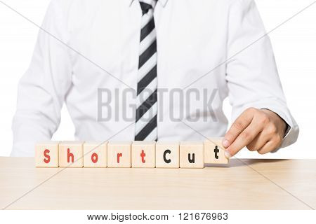 Close up Hand of a Businessman Arranging Wooden Blocks with shortcut words on blocks