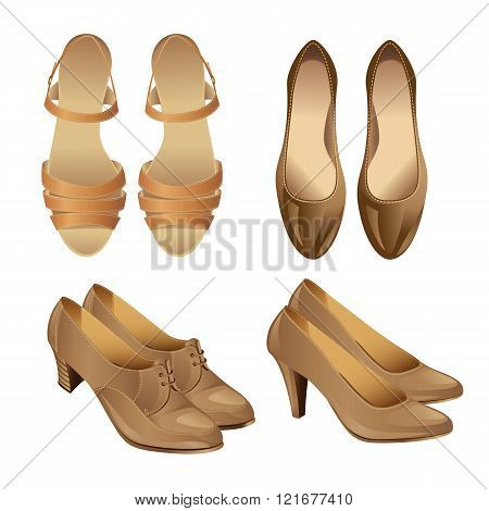 Set of various style beige shoes