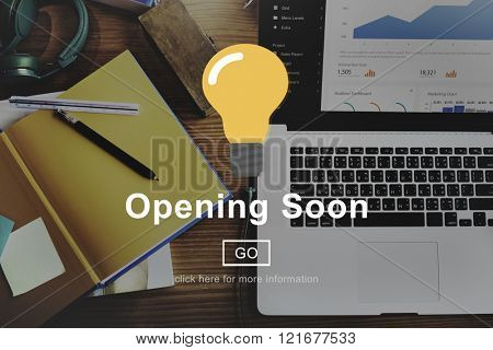 Opening Soon Advertising Notice Information Concept poster